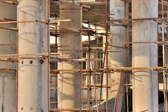 Scaffold and unfinshed pole in view depth Stock Photo