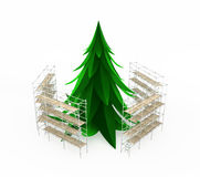 Scaffolded Fir. Scaffolding construction 3d build, horizontal, over white, isolated Royalty Free Stock Photos