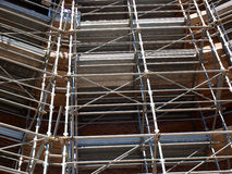 Scaffolding. In use in the Caracalla thermal bath repair works in Rome, Italy stock image