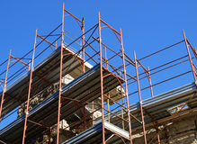 Scaffolding. Metal scaffolding for building and repair work, Italy stock photography