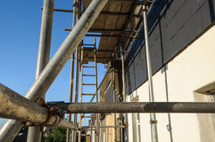 Scaffolding. Against a house wall stock photo