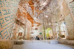 Scaffolding in the ancient buildings for renovation of historical mosque Royalty Free Stock Photo