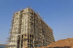 Scaffolding on apartment building. Inthailand Royalty Free Stock Photography