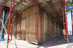 Scaffolding Around Boarded Up Property Royalty Free Stock Photography