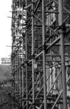 Scaffolding, bleak and grey. stock photography