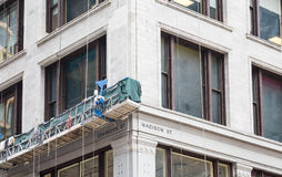 Scaffolding on Building at Dearborn and Madison in Chicago Stock Photography