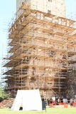 Scaffolding on castle tower Royalty Free Stock Photography