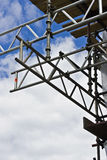 Scaffolding and clouds. A section of scaffolding against a cloudy sky stock photography