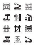 Scaffolding and construction cranes icon set. Vector illustration Stock Photos