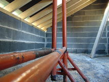 Scaffolding in construction. Scaffolding in house being built Royalty Free Stock Images