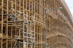 Scaffolding in the construction of the overpass. Building site Stock Photo