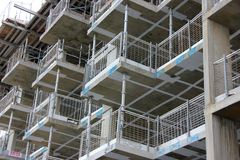 Scaffolding in construction site Stock Photo