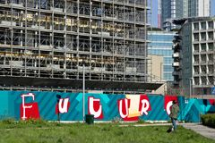 Milan. Italy. March 21 2019. Construction site for the construction of a modern building royalty free stock photography