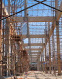 Scaffolding on a construction site of a new buddhist church Stock Image