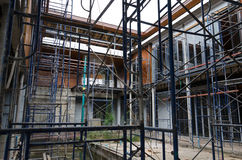Scaffolding in construction site Royalty Free Stock Images
