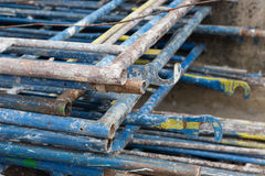 Scaffolding at a construction site. Un assembly scaffolding at a construction site Royalty Free Stock Images