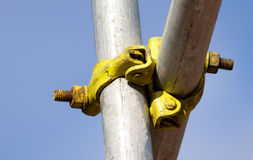 Scaffolding detail. Detail of a scaffolding joint Stock Photo