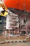 Scaffolding at the Drill Ship Stock Photo
