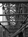 Scaffolding, bleak and grey. stock photos