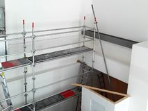 Scaffolding. Erected in building foyer for maintenance royalty free stock image