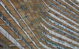 Scaffolding on the facade of the building to be repaired Royalty Free Stock Photography