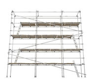 Scaffolding, Front. Scaffolding construction 3d build, horizontal, over white, isolated Stock Photos