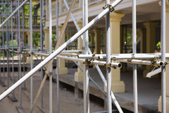 Scaffolding in front the building during the renovation Royalty Free Stock Images