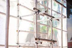 Scaffolding in front the building during the renovation Royalty Free Stock Photo