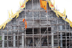 Scaffolding in front the temple during the renovation Royalty Free Stock Photo