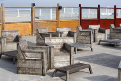 Scaffolding furniture on the beach Royalty Free Stock Photos