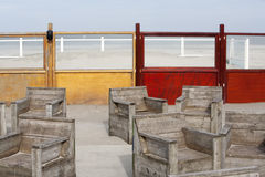 Scaffolding furniture on the beach Royalty Free Stock Image