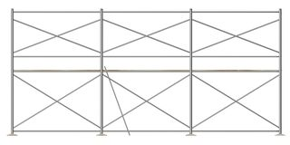 Scaffolding - ground and first floor - axo. 3d render of construction scaffolding - ground and first floor - axo Royalty Free Stock Image