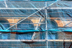 Scaffolding on house facade Royalty Free Stock Photos