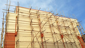 Scaffolding made of bamboo on building Royalty Free Stock Photo