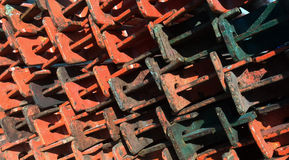 Scaffolding metal beams neatly stacked Stock Image