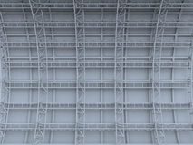 Scaffolding  metal truss on concrete wall  rendered background Stock Photo