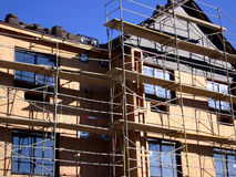 Scaffolding a New Apartment Building Stock Images