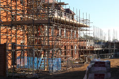 Scaffolding on a new build home. Stock Photography