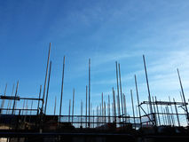 Scaffolding on new build housing estate Stock Photo