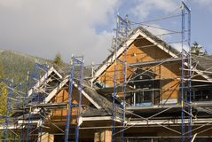 Scaffolding on new home Royalty Free Stock Photos