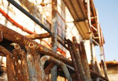 Scaffolding Outside Old Stone Building Royalty Free Stock Photos