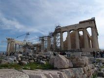 Scaffolding at Parthenon on Acropolis of Athens, Greece Stock Photos