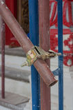 Scaffolding pipe clamp and parts. Stock Photos