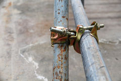 Scaffolding pipe clamp and parts Royalty Free Stock Image