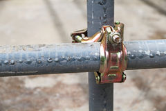 Scaffolding pipe clamp and parts Stock Photos