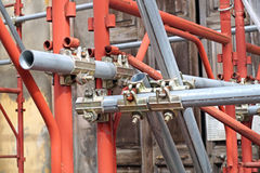 Scaffolding pipe clamp and parts, An important part of building strength to scaffold. Royalty Free Stock Image