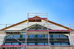 Scaffolding. On a public building in detail royalty free stock photo