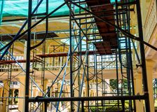 Scaffolding for repairing the vintage building Royalty Free Stock Image