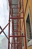Scaffolding for the safety. Of construction sites and for working outside of large buildings royalty free stock photos