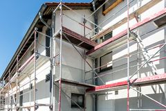 Scaffolding. On a public building in detail royalty free stock photography